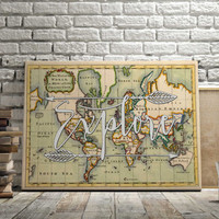 "World Map Poster Travel Quote Graduation Gift World Map Poster ""Explore"" Inspirational Quote Vintage Map World Map Print INSTANT DOWNLOAD"