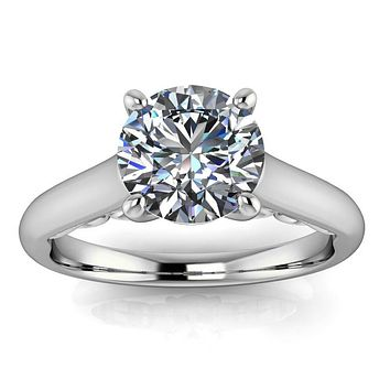 Fancy Solitaire Engagement Ring Moissanite Center Stone - Nan