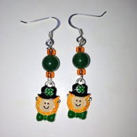 St Patrick's Day Leprechaun Dangle Earrings
