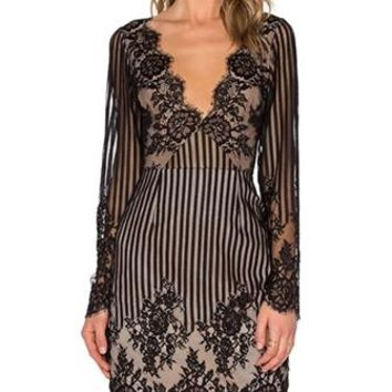Fall In Line Black Beige Sheer Mesh Lace Vertical Stripe Long Sleeve Scallop Plunge V Neck Bodycon Midi Dress