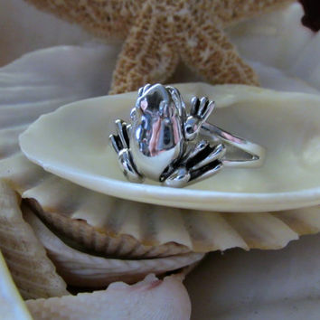 Sterling Silver Frog Ring Trembler Movable Legs 3D Size 9