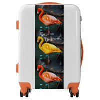 """Dare"" Quote Orange Pink & Yellow Flamingos Photo Luggage"