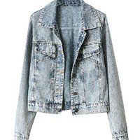 Washed Point Collar Denim Coat with Twin Chest Pockets