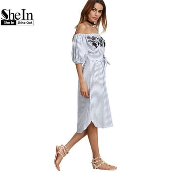 SheIn Casual Dresses For Woman 2016 Ladies Blue Vertical Striped Off The Shoulder Half Sleeve Embroidered Midi Dress