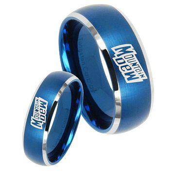 His Hers Mountain Dew Dome Brushed Blue 2 Tone Tungsten Engraving Ring Set