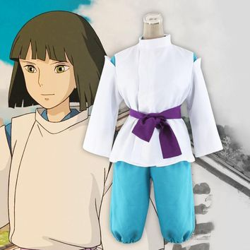 Cool Classic Spirited Away Sen to Chihiro no Kamikakushi White Dragon Haku Nigihayami Kohakunushi Kimono Uniform Cosplay CostumeAT_93_12