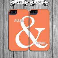 2 Best Friend iPhone 4 Cases - Coral and Gray Ampersand Mix and Match Cell Phone Cases