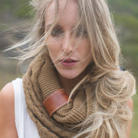 Ivory Knitted Infinity Boho Scarf & Indie Vintage Leather Cuff Accent - Women's Fashion Accessory Cozy Loop Scarf IVORY (SCF-CHM)