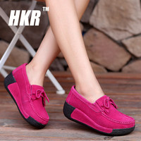 HKR 2016 autumn women wedges shoes hand made leather suede casual shoes slip on flats tassels creepers platform shoes 1319