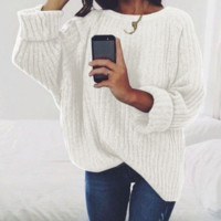 Explosion models women's solid color round neck shirt sweater pullover women