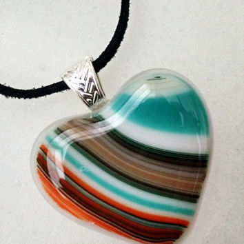 Heart Fused Glass Pendant - Southwestern - Heart Necklace - Glass Jewelry - Blue - Orange - Turquoise