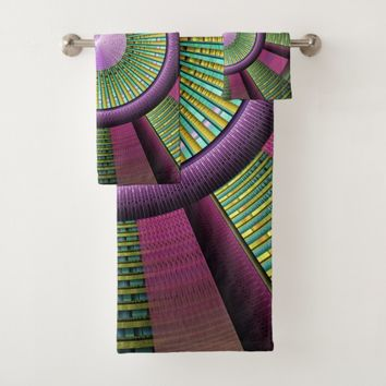 Round And Colorful Modern Decorative Fractal Art Bath Towel Set