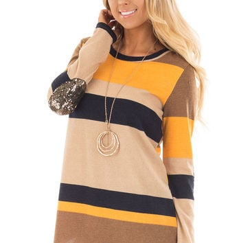 Mustard Color Block Sweater with Sequin Elbow Patches