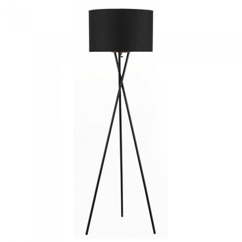 Euro Style Collection Lisboa Floor Lamp w/ Fabric Lampshade (Tall) Modern, Minimalist Tripod Standing Light | Living Room, Bedroom, Office | Black