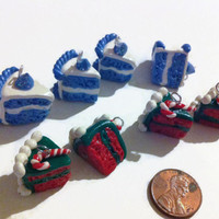 Christmas Cake Slice Charms, Polymer clay charms, clay food, kawaii charms, red and green charms, frozen, miniature food, polymer clay food