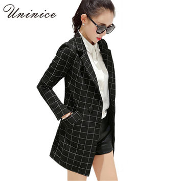 2017 Women Blazers & Jackets Long Plaid Blazer Women Coat Casual Outerwear Clothing Female Blazer Korean OL style Plus Size