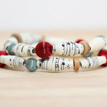 2 Recycled Paper Bead Bracelet, Handmade With Sheet Music