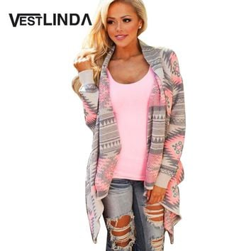 Spring Women Cardigan Pink Long Cardigans Sweaters Collarless Long Sleeve Asymmetrical Printed Casual Knitted Cardigans Coat