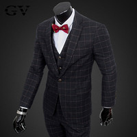 2015 new men's suits, high-quality business casual Slim plaid three-piece wedding dress S, M, L, XL, XXL, XXXL free shipping