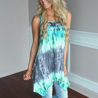 Mint & Gray Tie Dye Top