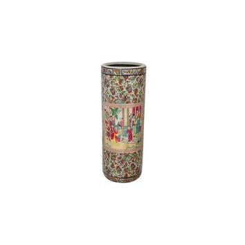 Oriental Furniture Rose Medallion Porcelain Umbrella Stand