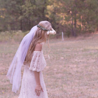 "Bohemian Wedding Dress Off The Shoulder Lace Ivory 1970s Hippie Unique White Vintage - ""Winnie"""