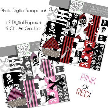 Pirate Digital Scrapbooking Kit- Set Includes 12 Digital Papers and 9 Clip Art Elements - Pink Pirate, Red Pirate