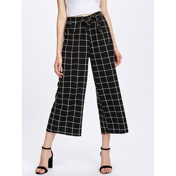 Grid Print Self Tie Wide Leg Pants