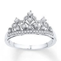 Crown Ring 1/5 ct tw Diamonds Sterling Silver