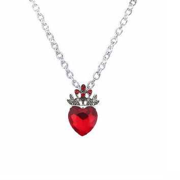 Red Heart Crown Necklace Queen of Hearts For Girl