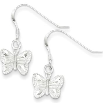 925 Sterling Silver Diamond Cut Satin Butterfly Dangle Earrings