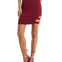 ASYMMETRICAL CAGED PENCIL SKIRT