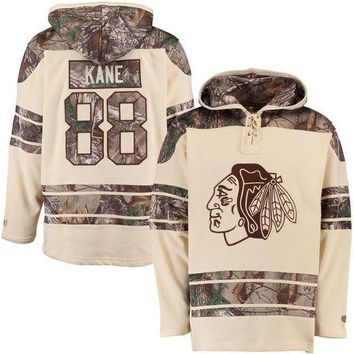 Men's Chicago Blackhawks Patrick Kane Old Time Hockey Stone Realtree Lacer Name and Number Hoodie