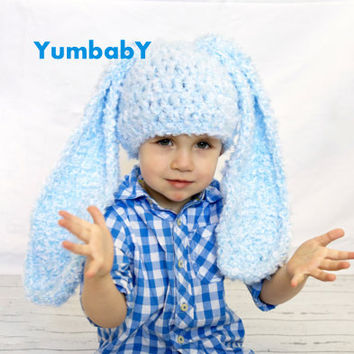 Baby Hat Photo Prop, Blue Bunny Hat, Baby Beanie, Crochet Boy Baby Hat, Easter Bunny Beanie, Toddler Boy Photo Prop
