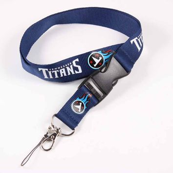 Blue Detachable ID Badge Holder Key Lanyard Phone Tennessee Titans Logo Tag Neck Strap For American Football Fan 55cm Length