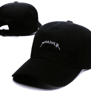Trendy Black Thrasher Embroidery Outdoor Baseball Cap Hats