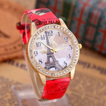 Women's Rhinestone Eiffel Tower creative watch with Red Leather Strap Wrist