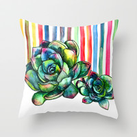 Rainbow Succulents - pencil & watercolor illustration Throw Pillow by micklyn