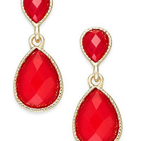 Style&co. Gold-Tone Red Double Teardrop Earrings