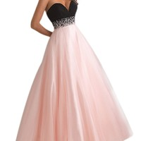 Moonar Women's A-line Off Shoulder Beads & Pleated Sweetheart Ankle-Length Dress