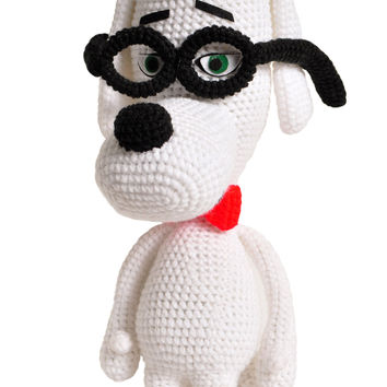 White Peabody Dog Handmade Amigurumi Stuffed Toy Knit Crochet Doll VAC