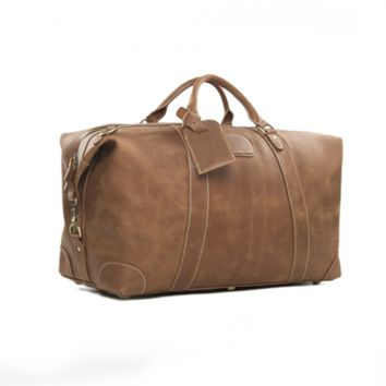 Handcrafted Vintage Style Top Grain Calfskin Leather Travel Bag Duffle Bag Holdall Luggage(L09)