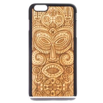 Hand Made Wooden Case with African Tribal Mask Design