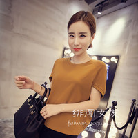 Korean version of the loose simple solid color T-shirt