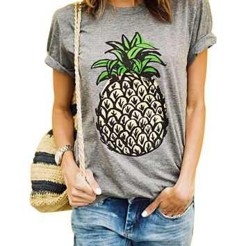 Fashion Summer Pineapple T Shirts Pineapple Print Women T-shirt Casual O-neck Short Sleeve Tee Tops Crop Top Woman Clothes