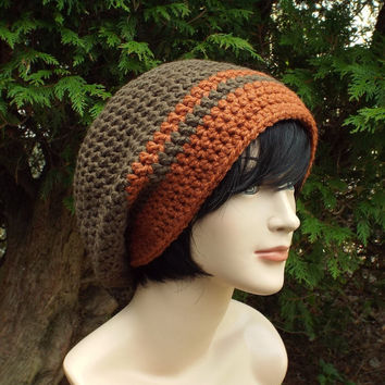 Mocha Brown Slouch Beanie - Mens Slouchy Crochet Hat with Burnt Orange Trim - Oversized Cap - Chunky Hat - Baggy Beanie