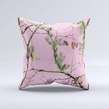 Pink Real Camouflage  Ink-Fuzed Decorative Throw Pillow