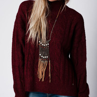 Q2 Maroon Cable Rib Knit Sweater