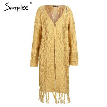 Simplee Fashion twist long knitting cardigan female Casual tassel autumn winter sweater women Elegant streetwear jumper 2017