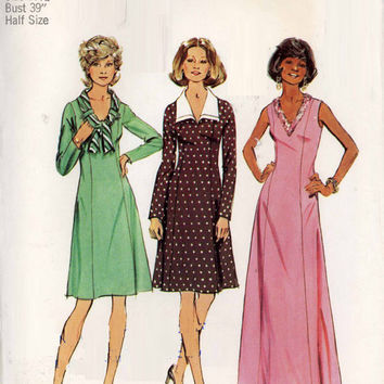 Simplicity 6615 Sewing Pattern Retro Disco Style 70s Maxi Midi Dress Wide Pointed Collar A-line Uncut FF Plus Size Bust 39
